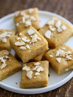 Besan Burfi with Condensed Milk. Indian Chickpea flour fudge with Condensed non dairy milk. | VeganRicha.com #vegan #glutenfree #indian #fudge #diwali