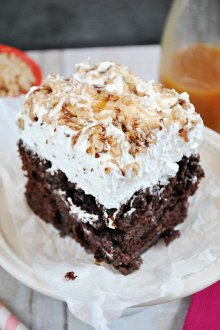 BTS Cake aka Poke Cake aka The BEST Cake you'll ever eat!! This super moist and decadent cake is smothered in whipped cream, Heath Toffee, and caramel sundae sauce | title=