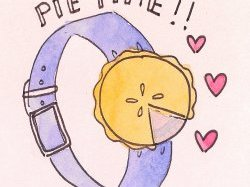 Cartoon of Watch with Pie Face