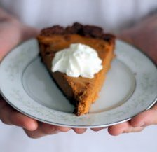 Lightened up Sweet Potato Pie with a sweet and salty pecan crust - gluten free, too!