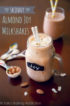 Skinny Almond Joy Milkshakes made from yogurt, bananas, and unsweetened cocoa powder. Delicious! Easy recipe found on sallysbakingaddiction.com